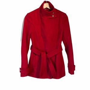 Express Full Zip Belted Red Coat Women's XS